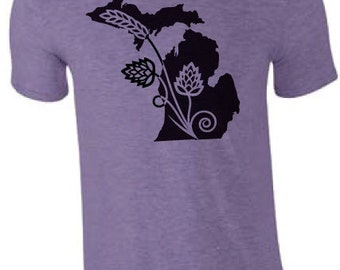 Michigan State Hops T-Shirt Mitten Tee Brew tee Smitten IPA Micro Brew
