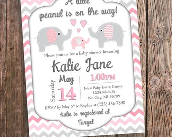 Pink Elephant Baby Shower Invitation   Pink And Gray Chevron   Pink  Elephant Baby Shower Printable