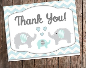 Digital Elephant Thank You Cards for Baby Shower - Blue and Gray Chevron - Aqua and Gray - Blue Elephant Baby Shower - Downloadable  Note
