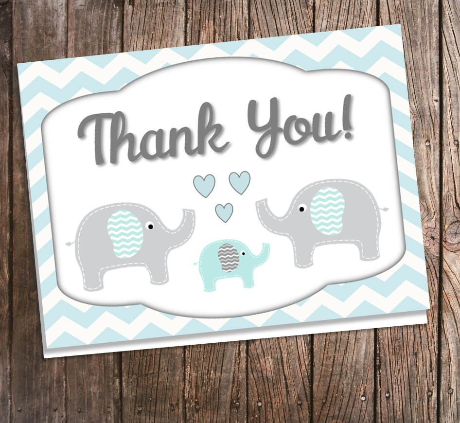 Elephant Thank You Cards For Baby Shower By BluePandaInvitations