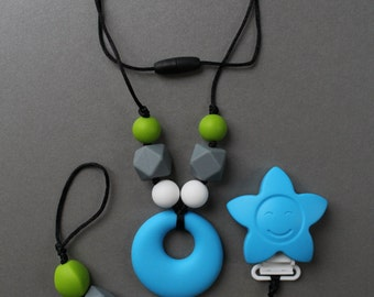 NATHAN - Kit home-pacifier and teether chew TOUPIDOU silicone necklace