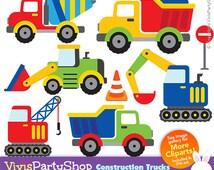 CONSTRUCTION TRUCKS Clipart, Printable, Instant download, PNG files, truck clipart, truck png, crane clipart, crane png, C#024