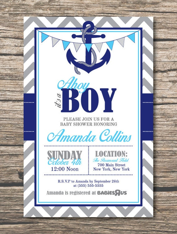 ahoy its a boy baby shower invitations anchor invitation insert