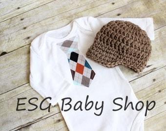 Baby Necktie Onesie Plaid and Matching Crochet Newsboy Hat Baby Tie Onesie Baby Tie Bodysuit Newborn Baby Tie Onesie Fall Colors Tie Onesie