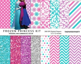 Frozen inspired 16 digital papers kit 12 x 12 inches pink version DIY invitations, printables, labels and more!
