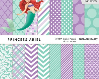 Princess Ariel turquoise and violet Digital papers 12 x 12 inches DIY invtations, tags, labels and more