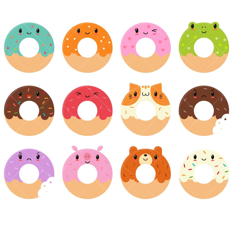 Clip Art Donut Clipart donut clip art etsy kawaii donuts clipart cute doughnuts art
