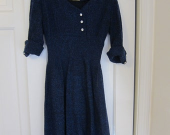 Late 1940s - Early 1950s Blue Winter Dress
