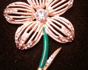 Large Flower Brooch with Rhinestones