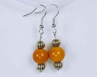 Earrings with orange beads and Silver earrings - unique-