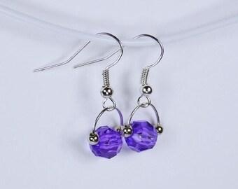 Earrings with purple beads - Silver earrings - light purple
