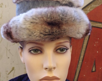 Vintage Christian Dior Fur Hat in Original Hat Box from The French Shops Filenes Boston