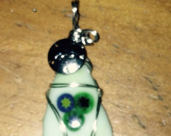 Melted Glass Pendant w/charm