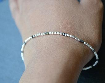 Black Rough Diamond and Sterling silver beads bracelet- April birthstone- Fine Jewellery- delicate womens diamond bracelet- for women