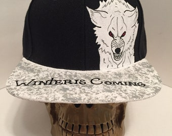 Game of Thrones House Stark Ghost the Dire wolf Snapback Hat