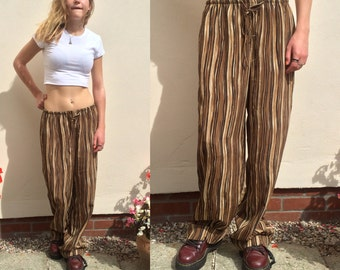 90s Grunge Pants High Waist Wide Leg Trousers Vertical Stripe Loose Fit Pants Elasticated Waist Tradition Canade Medium Stripey Pants