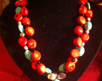 Red coral and turquoise beaded necklace