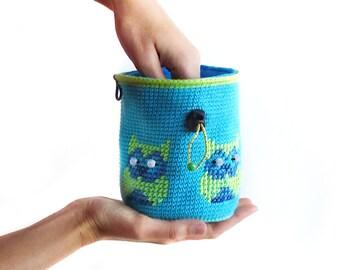 Climbing Chalk Bag. Bouldering Chalkbag Handmade - Crochet Rock Climbing Gear, M Size