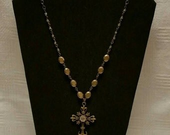 Antique Brass Cross Necklace