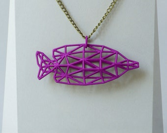 3D Printed Jewelry - Pendant with chain - 3 color yellow, Blue, Purple - made of Nylon