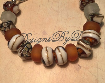Amber and Brown European Style Bracelet