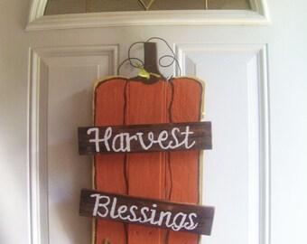 Pumpkin Sign - Fall Sign - Harvest Blessings Sign - Pumpkin Pallet Sign - Wood Sign - Fall Decor - Custom - Hand Painted - Autumn Decor