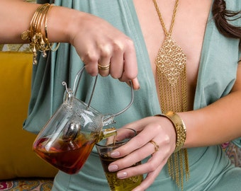 HARLOW Fringe Statement Necklace - Gold