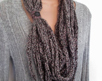 CLEARANCE - Gray and Pink Lucetted Chain Infinity Scarf