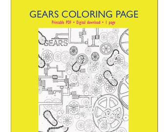 Gears Coloring Page for Adults or Kids | Coloring Page PDF Download | Adults coloring | Coloring page | PDF Printable | Tools | Gears