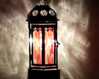 Lantern / Metal framed / stained glass Inserts