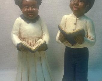 "Handpainted ""Boy and Girl Choir Singers"" Set"