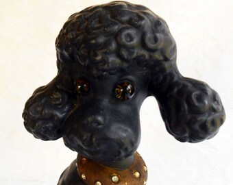 Vintage Black Poodle, Ceramic Chalk Ware, 1980s, Rhinestone Collar, Dog Glass Eyes, Atlantic Mold, Shabby Chic, Retro, Mid Century, French