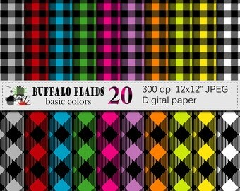Buffalo Plaid Basic Colors Digital Paper Set, Lumberjack Checks Digital Scrapbook papers, Instant Digital Download