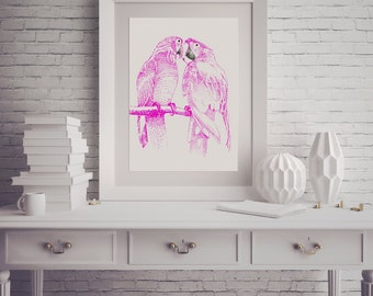 Bird Art Digital Download Printable Art Print Wall Art Wall Decor Home Decor Wall Hanging bird Print bird Decor Pink Art Love Art Print