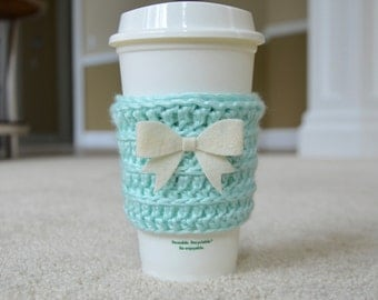 The Cute Cozy in Mint Green with Cream Bow