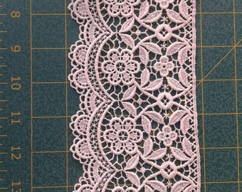 Blush Lace Trim 3.5 inch wide Guipure off white pale pink Lace , High Quality Couture Non-Stretch Lace by the yard