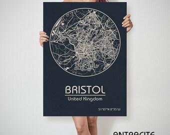 BRISTOL UK map EnglandBristol art, Bristol print, Bristol, Bristol map, Bristol England, Bristol wall art, Bristol city map, Bristol poster