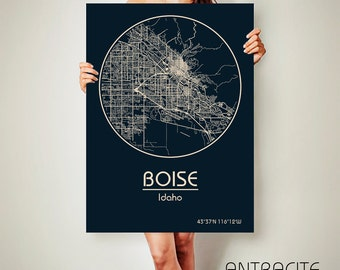 BOISE Idaho CANVAS Map Boise Idaho Poster City Map Boise Idaho Art Print Boise Idaho poster Boise Idaho map art Poster Boise Idaho map