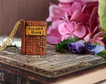 Book jewelry Book charm Gift for reader Miniature book Mini book necklace Mini book Bookish gift Book pendant Wizard book Polymer clay book