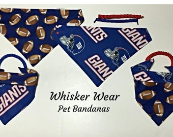 New York football fabric, reversible custom pet bandana, sizes XS-XL, dog scarf, dog bandana, pet scarf, pet clothing, pet attire