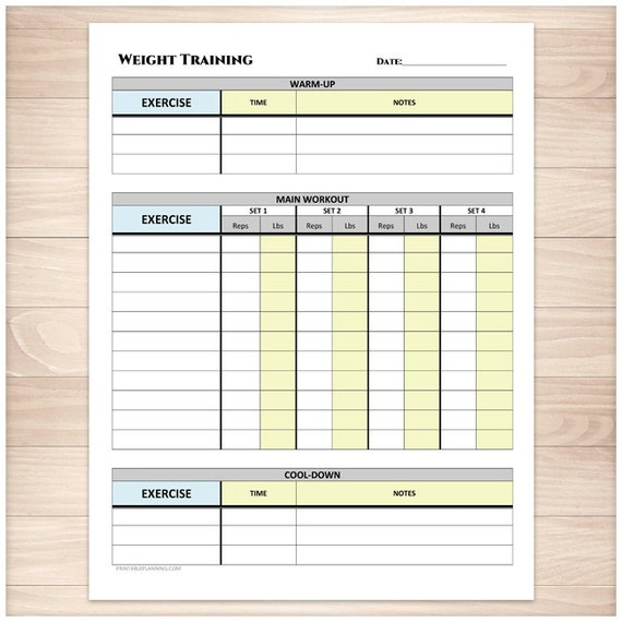 Printable Weight Training Daily Log Workout Tracking Sheet – Workout Training Sheet