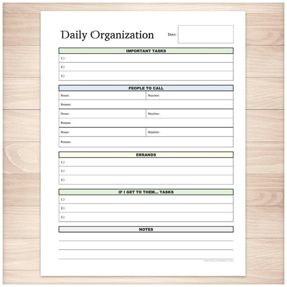 Printable Daily Task Sheet Full page organizer Clean and