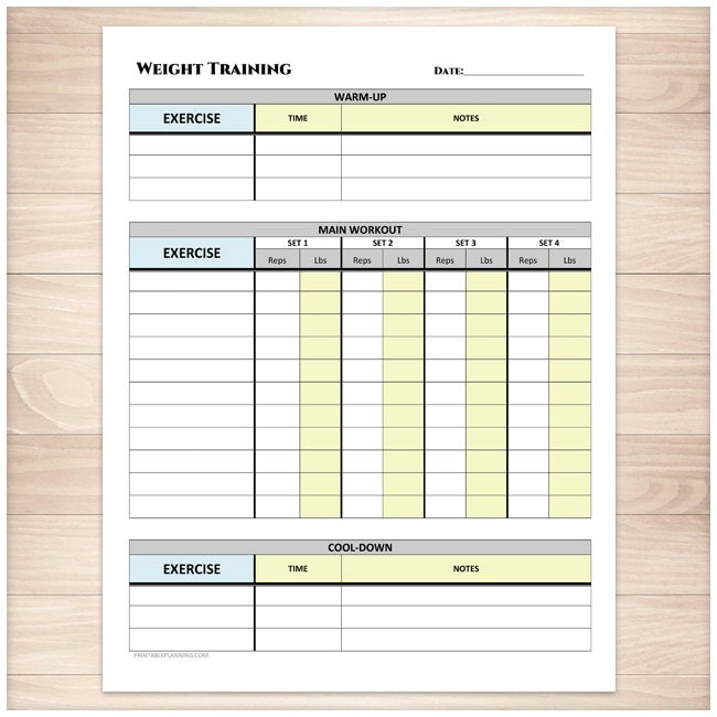 Printable Weight Training Daily Log Workout Tracking Sheet