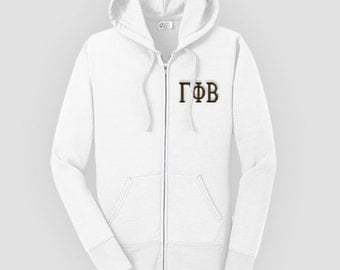 Gamma Phi Beta Fitted Embroidered Classic Zip Up Hoody, Gamma Phi Beta Zip up hooded sweatshirt, Greek Apparel, Sorority Letter Sweatshirt,