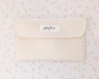 Diaper Clutch - Gold Polka Dots, White & Metallic Gold Diaper Clutch, Gold Diaper bag with Pockets,Diaper Holder,Diaper Wallet, Diaper Pouch