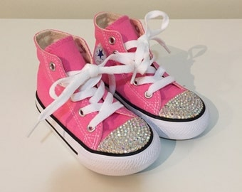 Pink Rhinestone Converse Shoes