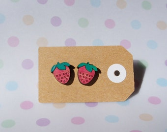 Hand painted wooden strawberry earrings