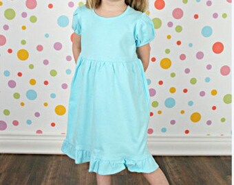 Girls Short Sleeve Empire Waist Ruffle Dress