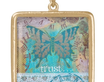 NECKLACE gold plated: 'Trust' ~ mixed media artwork by Amanda Stelcova