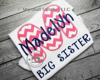 Big Sister Shirt/ New Sister Shirt/ Sibling Shirt/ Personalized Big Sister Shirt/ Big Sister Applique Shirt
